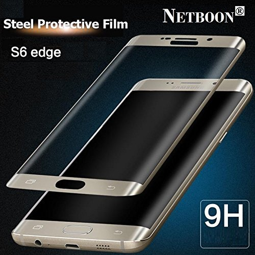 NETBOON® Premium Quality Samsung Galaxy S6 edge Tempered Glass Full Coverage Screen Protector – Anti Explosion, Original Crystal Clear Screen Guard, Anti-Scratch Screen Premium Quality Best Protector Glass, Shatterproof, Bubble-free, 2.5D Curved Edge – 9H Hardness Protect Mobile Screen from Dust, Bumps, Scratches, Dirt or any unwanted wear and tear – Gold