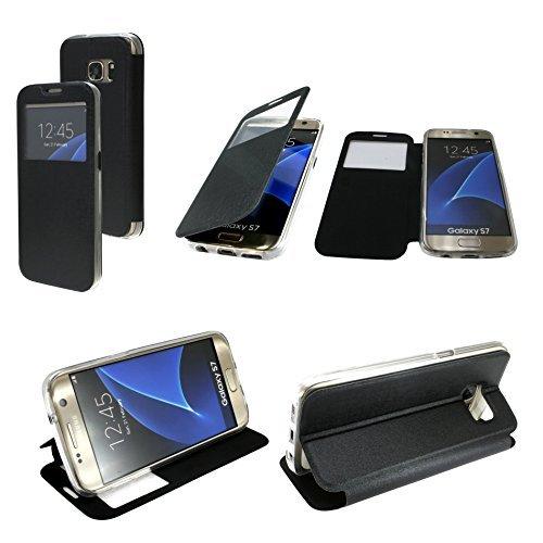 Energmix® Flip-Cover Tasche Hülle mit Sichtfenster für das für SONY XPERIA XCompact in Schwarz Wallet Book-Style Case Schale Etui Bag Zubehör @ Energmix