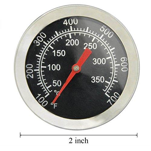 5122vcbVdTL - Onlyfire Edelstahl Grillthermometer bis 350°C/700°F, Thermometer für alle Holzkohlegrill, Grills, Ofen, Smoker, Räucherofen und Grillwagen, analog, Grillzubehör (Anzeige: Celsius und Fahrenheit)