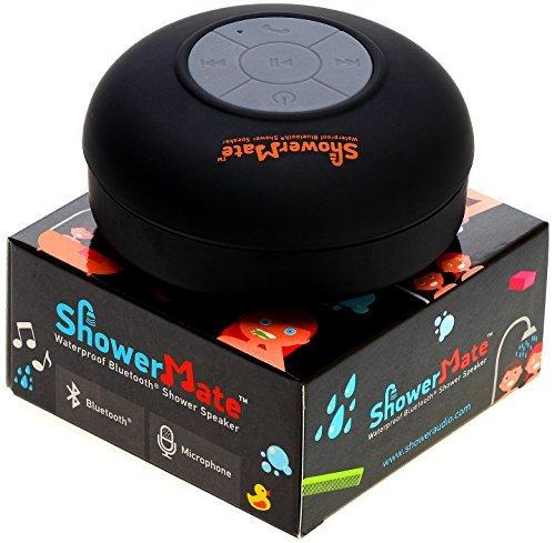 Showermate Wireless Bluetooth Lautsprecher | Wasserdichtes Duschradio mit Freisprecheinrichtung und eingebautem Mikrofon | Kompatibel mit allen Bluetooth Geräten u2013 Schwarz