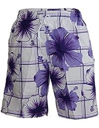 Waooh - Short De Bain Motif Carreaux Et Fleurs Style Hawaïen Patrick
