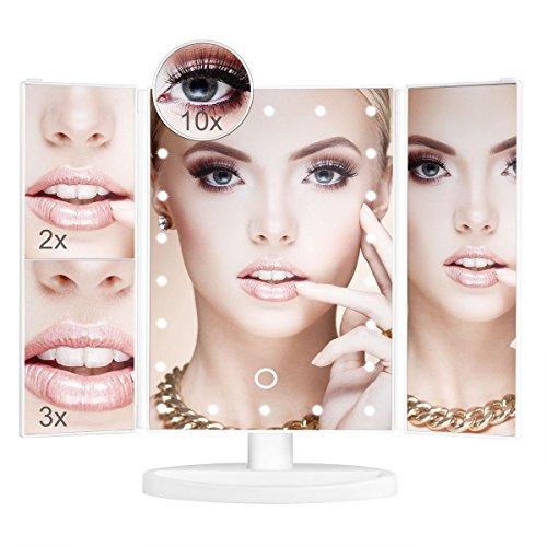 Aiskki Kosmetikspiegel beleuchtet,LED Spiegel mit 3 Fach Vergrößerung und Faltbar Schminkspiegel...
