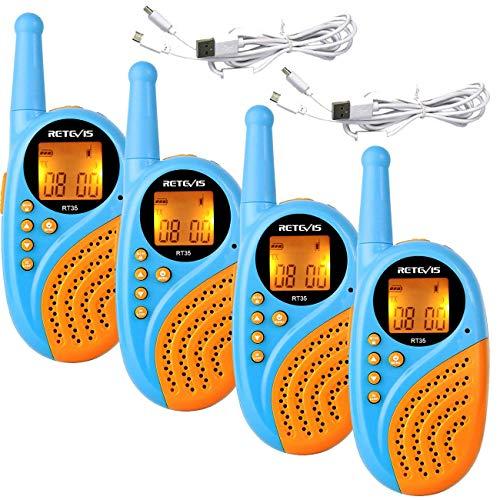 Retevis RT35 Walkie Talkie Kinder PMR446 8 Kanäle Wiederaufladbar Kinder Funkgerät mit Li-Ion Akkus Walki Talki VOX Taschenlampe Digitaluhr und Wecker Spielzeug Spy-Gear für Kinder (2 Paar, Blau)