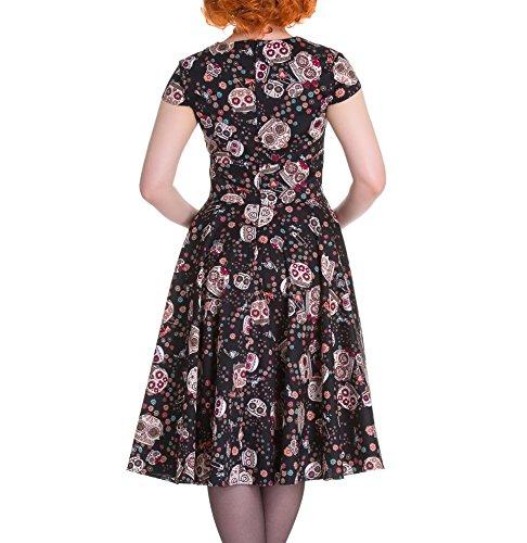 HELL BUNNY Pinup 50s Dress SASHA Love Skull Sugar ~ Black L 14