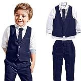Jungen Gentleman Hochzeit Anzüge Shirts + Weste + Lange Hosen + Krawatte Kleidung By Dragon (Blau, 7T)