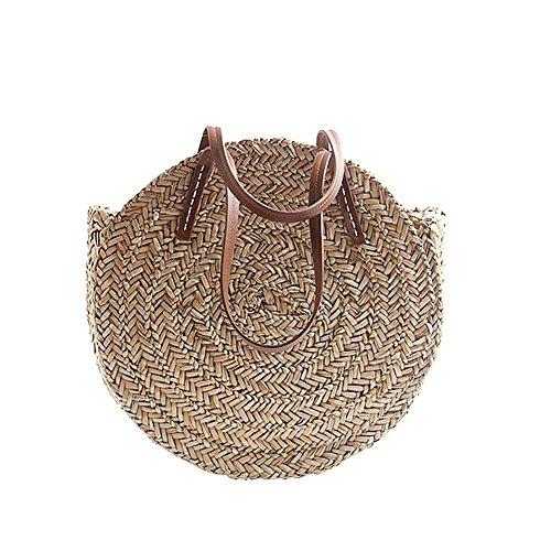 Warooms Stroh Strandtasche, Outdoor-Runde geflochtene Tasche Gewebt Strandtasche Dual-Purpose Travel Sling Bag Umhängetasche