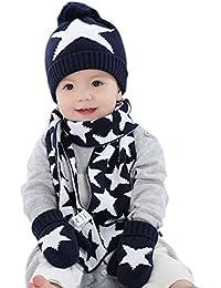 iikids® Jungen/Mädchen Baumwolle Kappe Winter Warm Wolle Pom Pom Hat Baby Beanie Hat Strick Cap Kids Mütze Schal Handschuhe Set Sterne Marineblau