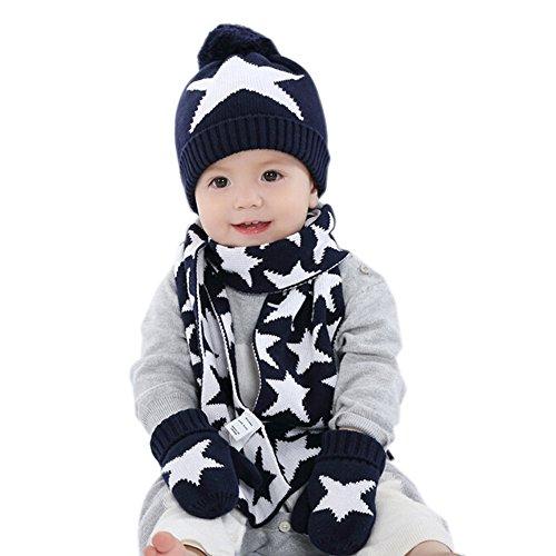 iikids®Boys/Girls Winter Cotton Cap Warm Wool Pom Pom Hat Baby Beanie Hat Knitted Cap Kids Hat Scarf Gloves Set Stars Navy Blue
