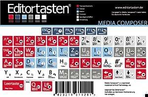 Editortasten Autocollants pour clavier avec raccourcis allemands Avid pour Media Composer 4, 5 & 6