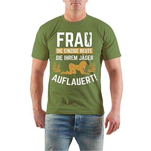 Männer und Herren T-Shirt FRAU Beute die ihrem Jäger auflauert Größe S - 8XL Moosgrün