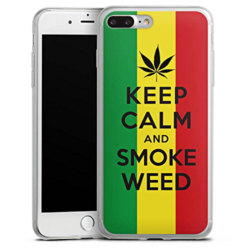 Apple iPhone X Slim Case Silikon Hülle Schutzhülle Keep calm and smoke weed Sprüche Statement Silikon Slim Case transparent