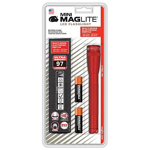 Mag-Lite SP2203HF Mini Maglite 2AA Multimode Hochleistungs-LED-Taschenlampe, 17 cm rot inkl. 2 Mignon-Batterien und Nylonholster Mini Mag-led