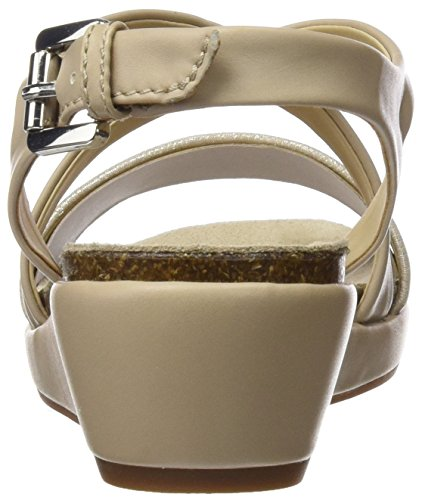 Geox D Abbie A, Sandales Bout Ouvert Femme Beige (LT TAUPE/CHAMPAGNECH6B5)