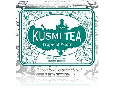 Kusmi Tea - Thé blanc Tropical White - Saveur Mangue Passion - Boîte de 20 sachets en PLA produits en France