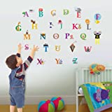 Walplus 30x60 cm Wall Stickers Cute Alphabet London Removable Self-Adhesive Mural Art Decals Vinyl Home Decoration DIY Living Bedroom Office Décor Wallpaper Kids Room Gift, Multi-colour