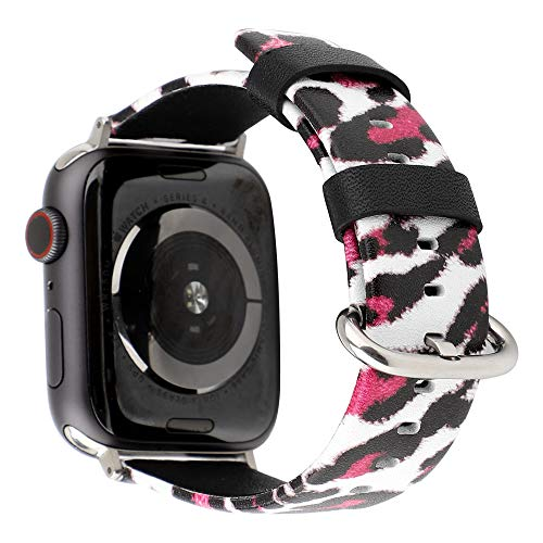 Rmolitty kompatibel Apple Watch Armband 38mm 40mm, Leder Leopard-Druck Armbänder für Damen für iWatch Series 4, Series 3, Series 2, Series 1 -