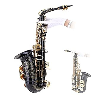 Andoer® bE Alto Saxophone Brass Lacquered Gold E Flat Sax 82Z Key Type Woodwind Instrument with Cleaning Brush Cloth Gloves Cork Grease Strap Padded Case