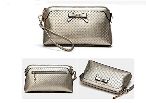 Nuova tendenza borsa, arco arrotolato a mano delle donne coreane di moda, mano piccola Messenger Bag Gold