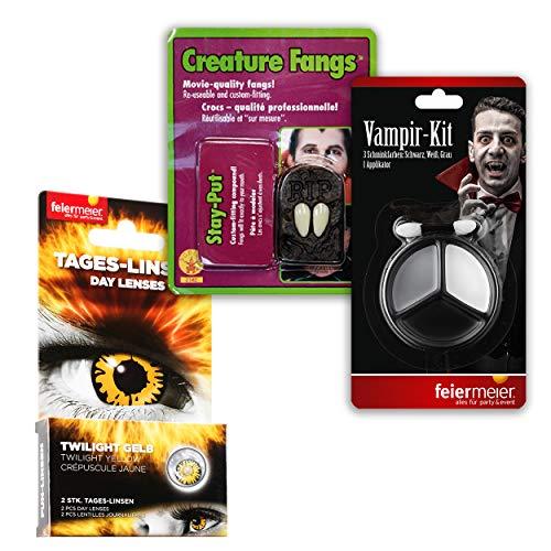 PartyMarty Twilight Makeup Set bestehend aus 1 x 2 Stück gelbe Tageskontaklinsen, 1 x Vampir-Kit Schminke zum Auftragen & 1 x Fangzähne mit Klebemasse wiederverwendbar für Halloween, Fasching, Twilight, Motto-Party, Vampir