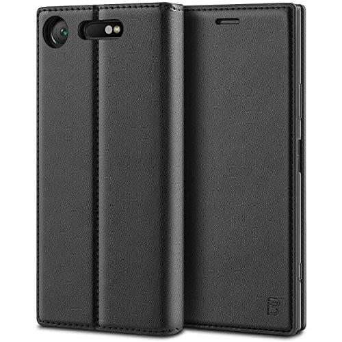 BEZ Hülle für Sony XperiaXZ1 Hülle, Handyhülle Kompatibel für Sony XperiaXZ1 Tasche, Case Schutzhüllen aus Klappetui mit Kreditkartenhaltern, Ständer, Magnetverschluss, Schwarz