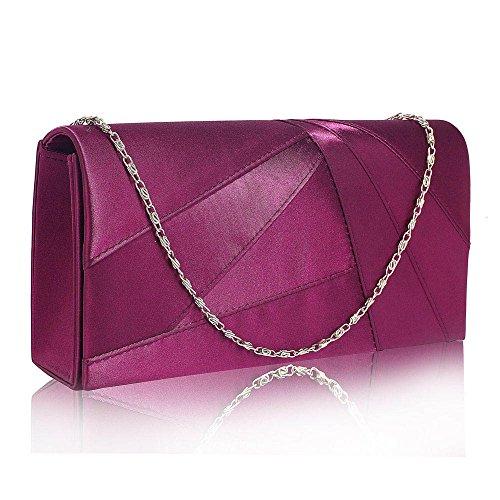 TrendStar Frauen Stilvoll Prom Party Hochzeit Taschen Damen Abend Kupplung Handtasche Satin (B - Lila) (Tasche Damen Satin)
