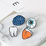 Kercisbeauty (4 pz) Funny Cartoon cute Halloween Guilty Pleasure cervello Tooth Eyeballs cuore organi smalto spilla pin collare spilla badge regalo perfetto, regalo di compleanno, anniversario, Daily, accessori per feste