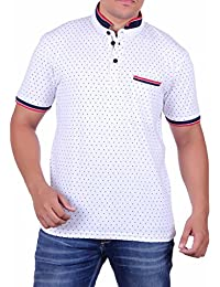Vivid Bharti White Half Sleeve Ban Collar Dot Printed Men's Tshirt(Premium Quality T-Shirt)