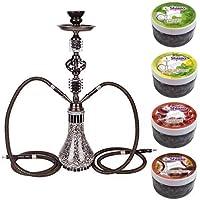 DXP Shisha cachimba 2 salida manguera o tubo 55 cm con 4x100g piedras de vapor para cachimba (sustituye a tabaco, sin nicotina)
