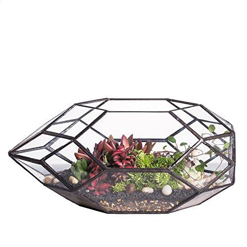 Handgefertigtes, großes, unregelmäßiges, vielflächiges, geometrisches Glas-Terrarium für sukkulente Pflanzen - laternenartiger Blumentopf/Übertopf für Fensterbank, Balkon, Tischplatte - 28cm (Länge)