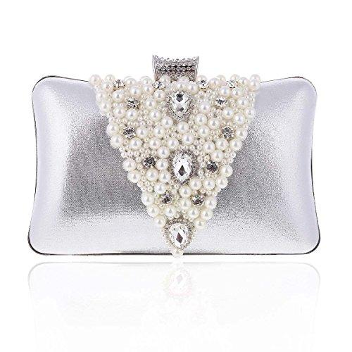 Damara Pochette Femme de Soirée Exquis Synthétique Triangle de Perle et Pière Brillant argent