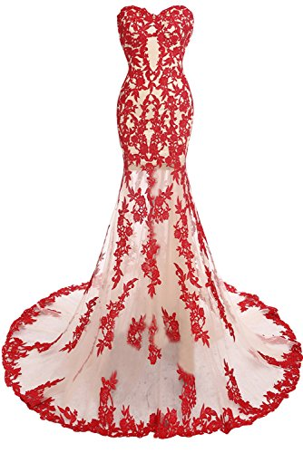 Sunvary Sexy Meerjungfrau Lang Tuell Spitze Ballkleider Partykleid Rot-1
