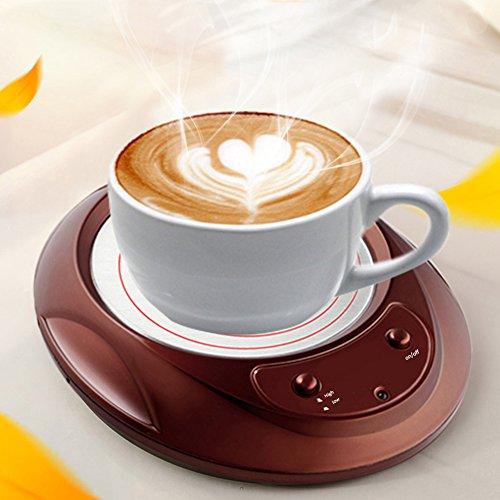 Yunt Tassenwärmer, Elektrische Tasse Heizung Thermostat Milch Wärmedämmung Platte Tee Getränkebecher Wärmer für Office Home mit Rutschfesten Fuß Pad, 110V