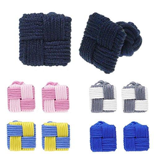 HONEY BEAR 5 Paires Bouton de Manchette Noeuds de Soie pour Homme/Femme Chemise, idéal pour Mariage pères Cadeau de Noël (carré avec boîte)