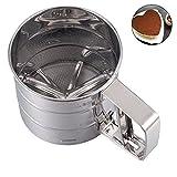 Mehlsieb Edelstahl Einhand Zuckersieb Küchensieb für 250 Gramm Mehl, Puderzucker, Kakaopulver Bakeware Werkzeug Ø 10,5 cm, Höhe 9,5 cm