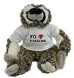 Bradypus de peluche con Amo Rosalina en la camiseta (nombre de pila/apellido/apodo)