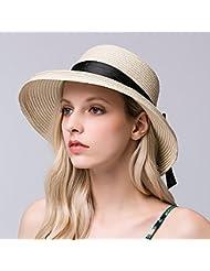 Ocio Mujer corona plana soulful volumen exterior hem playa plegable parasol y sombrero de paja, beige