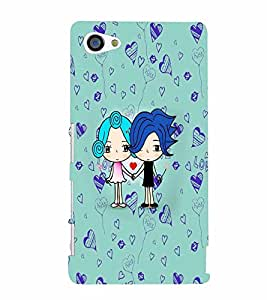 PrintVisa Cute Cartoon Couple 3D Hard Polycarbonate Designer Back Case Cover for Sony Z5 Mini :: Z5 Compact