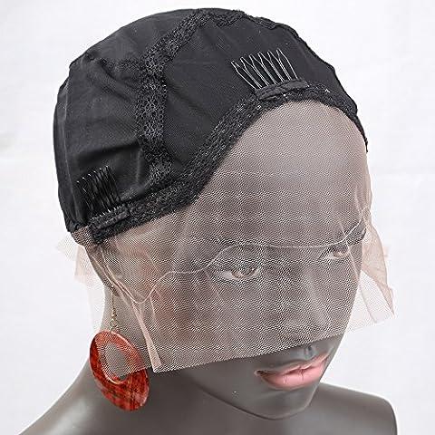 Bella Hair Perruque Bonnet de dentelle Simple Pour Fabrication de Perruques Noir Taille Moyenne - Avec Bretelles Réglables, Peignes et Filet Élastique (Wig Cap)