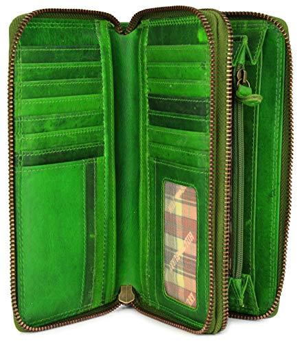Hill Burry hochwertige XXL Vintage Leder Damen Geldbörse Portemonnaie langes Portmonee Geldbeutel Organizer aus weichem Leder mit extra vielen Fächern inkl. RFID in grün - 20x11x3,5cm (B x H x T) -