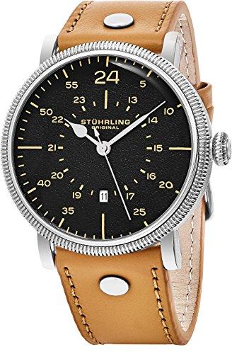 Stuhrling Original analogique montre à quartz pour hommes, décontracté Mode Montre-bracelet, Tan Bracelet cuir, cadran noir, Argent Coque