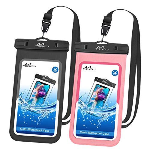 MoKo wasserdichte Handyhülle, 2 Stück Universal Handytasche mit Schlüsselband Kompatibel mit iPhone X/Xs/Xr//Xs Max, 8/7/6s Plus, Samsung Galaxy S9/S8 Plus, S7 Edge, Note 9/8, Schwarz + Magenta (Nokia At&t Windows Phone)