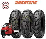 Deestone Set 3 Pneumatici 100/90-10 per Piaggio Ape 50, Moto, Scooter TASSELLATI