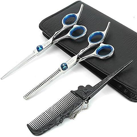 KYG 6 Pulgadas Tijeras Set de Corte Professional de Peluquería Herramientas de Corte de Pelo Acero Inoxid 6CR Color Azul