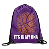 Naiyin Drawstring Backpack Gym Bag Travel Backpack, Basketball It's In My DNA, Canvas Drawstring Bags For Women Men Adults