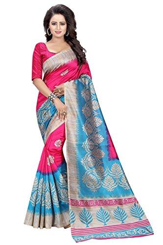 Manorath Women's Cotton Silk Saree (Blue-Pink)
