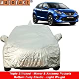 Autofact Car Body Cover for Maruti Baleno (2015 to 2019) with Mirror and Antenna Pocket (Light Weight, Triple Stitched, Heavy Buckle, Bottom Fully Elastic, Silver Matty)