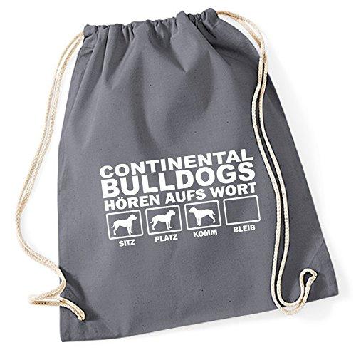Turnbeutel - CONTINENTAL BULLDOG Schweiz Bulldogs NO English Bulldog - HÖREN AUFS WORT Baumwoll Tasche Beutel Siviwonder grau (Continental Rucksack)