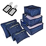 6 PCS Organizadores de Viaje para Maletas, Bolsas de Equipaje Impermeable Cubos Embalaje de Viaje Bolsas de Almacenamiento para Ropa Zapatos, Cosméticos Accesorios, Material Nylon (Gris) (Verde punto)