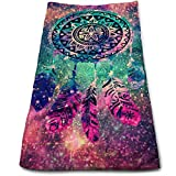 """ewtretr Prime Torchons De Cuisine, Dream Catcher Flower Feather Microfiber Beach Towel Large & Oversized - 11.8""""X27.5"""" Towels, Best for Outdoor, Sports, Travels, Quick Drying and Super Absorbent"""