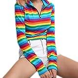Damen Bluse,Geili Mode Damen Frauen Langarm Rollkragen Rainbow Stripe Zipper Sweatshirt Crop Tops Pullover Bluse T-Shirt Oberteile Basictop